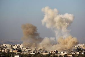 La partie est d'Alep bombardée par le régime.