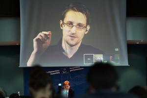 Réfugié en Russie, Edward Snowden intervient parfois en visioconférence comme ici à Strasbourg en juin 2015.