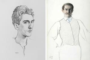 À gauche Cocteau dessiné par Bakst, à droite son autoportrait