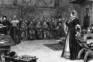 Marie Stuart lors de son procès pour trahison en octobre 1586.