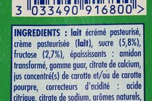 L'étiquette du yaourt «Danonino».