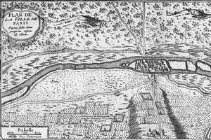 Plan de la ville de Paris, époque de Jules Cesar jusqu'au règne de Clovis, «Paris a travers les siecles», (1878).