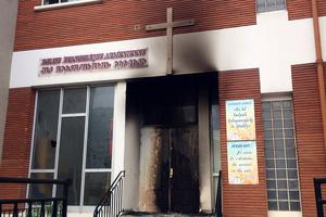 Façade de l'église évangélique arménienne après l'intervention des pompiers pour éteindre un début d'incendie, le 3 avril 2017 à Alfortville. Photo DR.