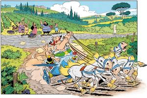 Le char d'Astérix et Obélix lancé à pleine allure dans la plaine toscane...