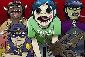 De gauche à droite, Russel, Noodle, 2D et Murdoc.