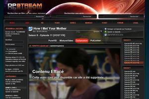 La page d'accueil du site DPStream, bloqué par la justice.
