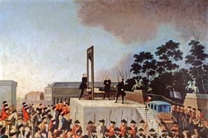 Mort du roi de France Louis XVI guillotiné place de la Révolution à Paris.