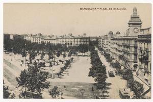 Carte postale datant des années 1910 figurant la place de Catalogne à Barcelone.