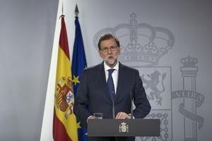 Le premier ministre Mariano Rajoy annonce que le gouvernement espagnol a déposé un recours devant la Cour suprême, le 7 septembre.