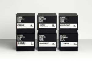 Les 6 tisanes proposées par la marque Herbal Drinkers Club.