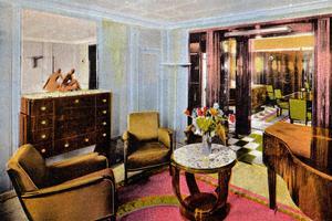 Appartement de luxe dans le paquebot le «Normandie». Carte postale, 1938.