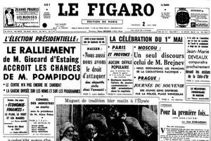 La Une du <i>Figaro</i> du 2 mai 1969.