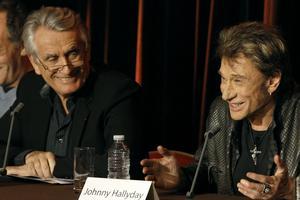 Conférence de presse avec Johnny Hallyday et son producteur Gilbert Coullier.