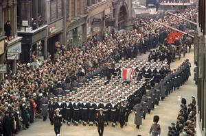 Funérailles nationales le 30 janvier 1965. Ici, dans les rues de Londres.