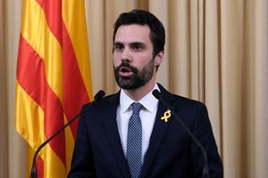 Le président du Parlement catalan, Roger Torrent, lundi, à Barcelone.