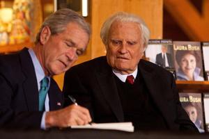 Billy Graham en compagnie du président George W. Bush.