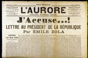 Une de «L'Aurore» du 13 janvier 1898 avec le texte d'Émile Zola relatif à l'affaire Dreyfus.