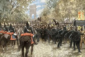 Manifestation antidreyfusarde le 2 octobre 1898, près de la salle Wagram à Paris où devaient se réunir les partisans de Dreyfus. Illustration du journal «Le Pélerin» daté du 18 octobre.