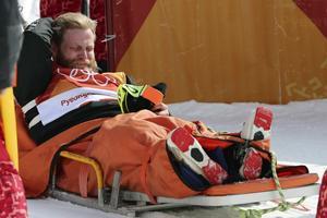 Byron Wells sur la civière avant d'être évacué.