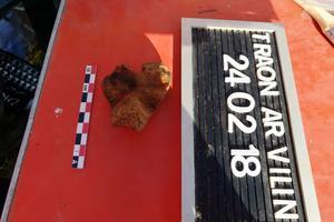 L'os retrouvé à Morlaix dans le Finistère.