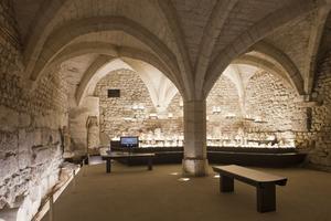 La salle des ex-voto dutemple d'Halatte, cave voûtée située ausous-sol de l'ancien palais épiscopal deChantilly.