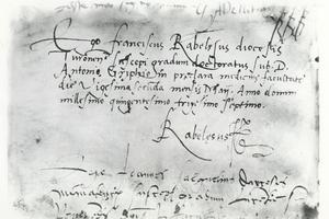 Manuscrit autographe de François Rabelais mentionnant son diplôme de docteur en médecine à la faculté de Montpellier, 25 mai 1537.