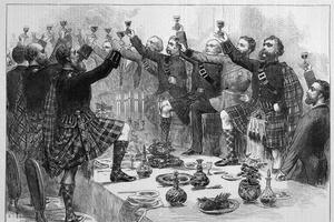Écossais trinquant à la santé du duc de Rothsay, 1872.