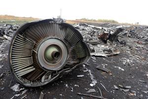 Un débris de l'avion retouvé près du village de Hrabove en Ukraine.