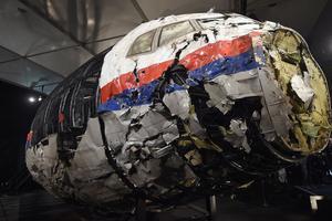 Le cockpit détruit du vol MH17 de Malaysia Airlines avait été présenté à la presse en octobre 2015.