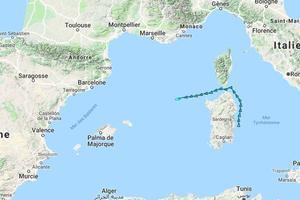 Capture d'écran de la trajectoire de l'Aquarius sur marinetraffic.com