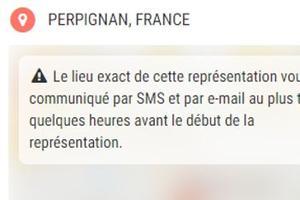 Avertissement sur la billetterie du site officiel de Dieudonné.