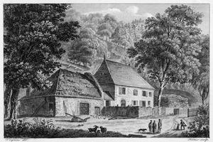 La maison les Charmettes, près de Chambéry (Savoie), où vécu Rousseau de 1736 à 1742. Gravure.