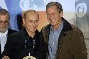 Vladimir Poutine et Georges Bush en 2001.