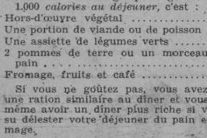 Déjeuner à 1.000 calories proposé dans «Marianne» du 15 décembre 1937.