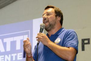 Le ministre de l'Intérieur Matteo Salvini le samedi 25 août 2018.