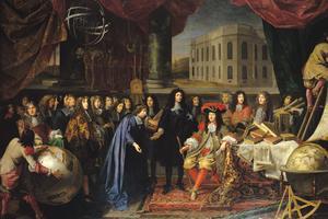 Tableau d'Henri Teslin: Jean-Baptiste Colbert présente les membres de l'Académie Royale des sciences à Louis XIV.
