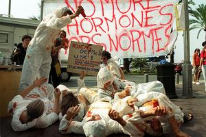 Des manifestations contre le bœuf aux hormones américain, en 1999, à Nice.