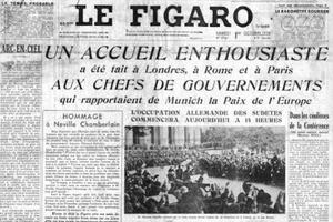 Une du Figaro du 1er octobre 1938, au lendemain de la signature des accords de Munich.