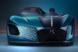 DS X E-tense, figure libre - Selon les designers, la DS de 2035 pourrait ressembler à cet engin à l'esprit side-car installant le pilote à l'air libre <br/>et privilégiant les sensations.