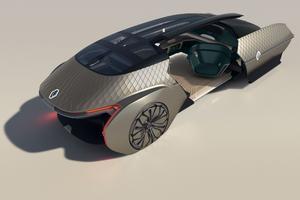 Un salon roulant art déco - À l'occasion de ses 120 ans, Renault continue d'explorer la mobilité de demain et le thème du robot-véhicule avec ce concept de salon sur quatre roues d'un luxe inouï.