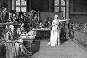 La reine Marie-Antoinette lors de son procès devant le Tribunal révolutionnaire en 1793.