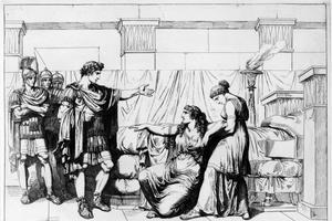 Gravure de 1821 figurant la rencontre entre Octave et la reine Cléopâtre à Alexandrie, après la victoire du romain.