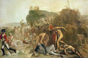 La mort du capitaine James Cook, le 14 février 1779, tableau de Johann Zoffany.
