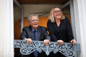 Virginie Despentes and Bernard Pivot, at the Drouant restaurant in Paris.