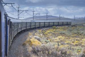 Le Rovos dans le Karoo. Ligne Pretoria-Le Cap. Afrique du Sud.