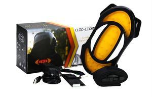 Clic-Light est un deuxième feu stop et une seconde paire de clignotants, qui viennent se greffer derrière le blouson de moto.