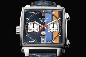 Ce chronographe de forme carrée, avec la couronne placée à gauche, rompt avec les codes de l'époque. L'édition spéciale Gulf, mouvement automatique ( 5 250 €), lancée cette année, rappelle les couleurs de la Porsche conduite par l'acteur dans le long-métrage.