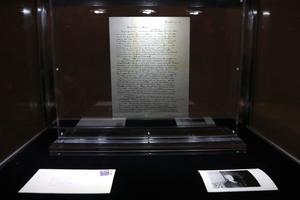 La «lettre sur Dieu» vendue mardi présentée chez Christie's.