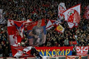 Les supporters de l'Étoile Rouge durant le match contre Liverpool (2-0).
