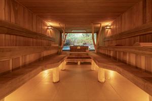 Le sauna de hêtre et de boulot